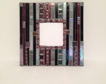 "10"" Mosaic Mirror shades of purple and grey"