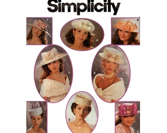 90s Bridal Hats Wedding Hats Millinery Patterns 4 Styles by Randy Allen Simplicity 8521 1993 Sewing pattern UNCUT Factory Folded
