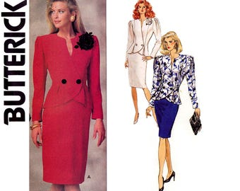 Butterick 6959 RONNIE KELLER Womens Peplum Jacket & Pencil Skirt 80s Vintage Sewing Pattern Size 10 Bust 32 1/2 inches UNCUT Factory Folded