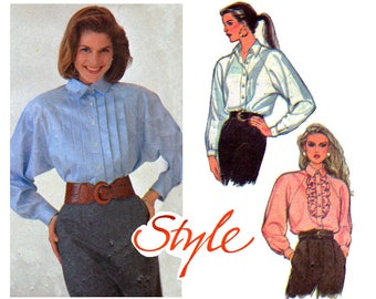 80s Raglan Sleeve Blouse Pattern Style 1423 Vintage Sewing Pattern Size 8 10 12 or 14 16 18 UNCUT Factory Folded