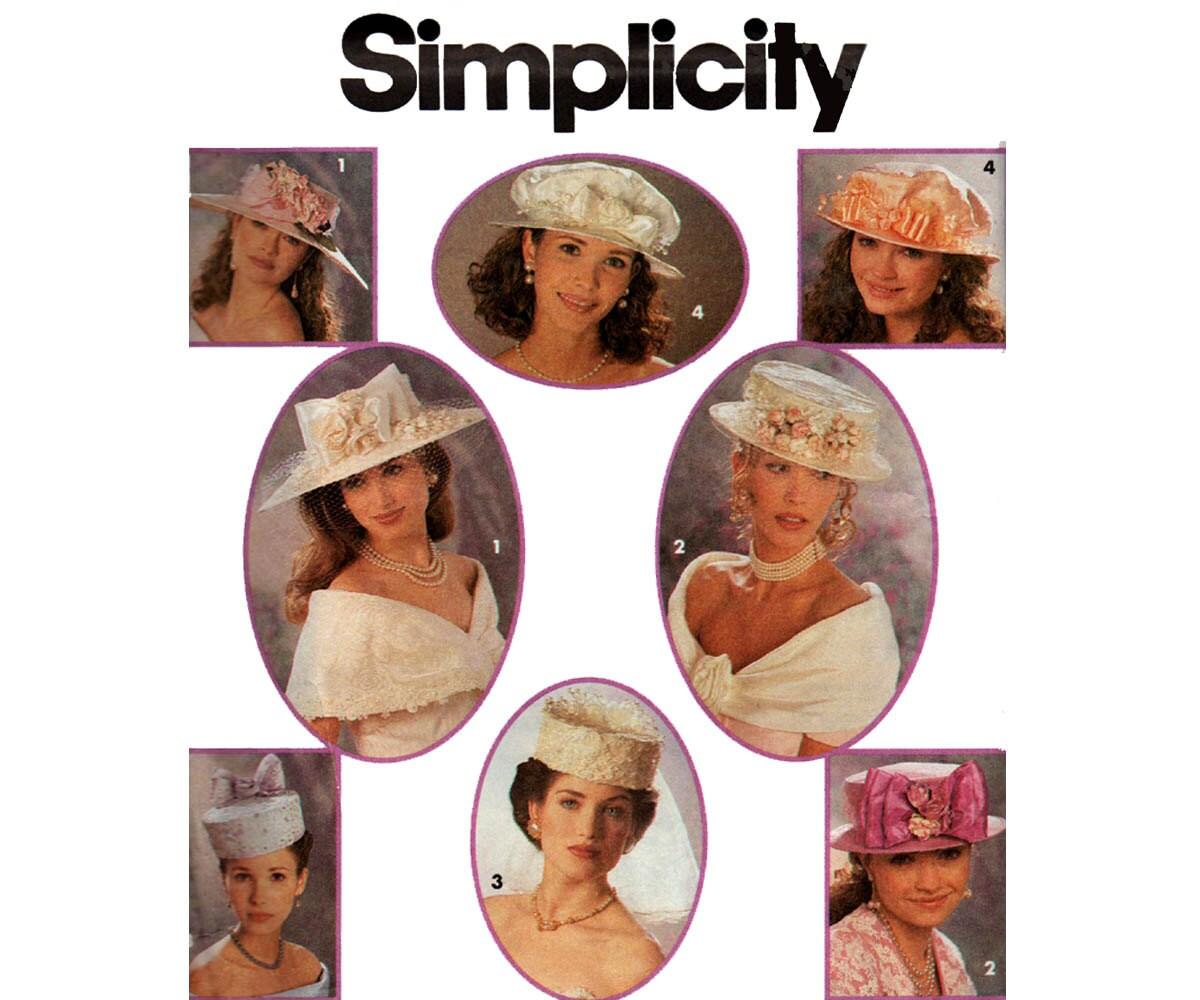 90er Jahre Braut Hüte Hochzeit Hüte Millinery Muster 4 Stile