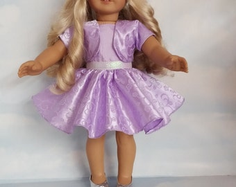 18 inch doll clothes - Lilac Glitter Dress and Jacket Handmade to fit the American Girl Doll - FREE SHIPPING