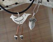SPECIAL RESERVE for GAYLE Shorebird & Owlet Necklace, sterling, etched steel, 14ktgold