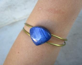 Blue Labradorite Brass Cuff