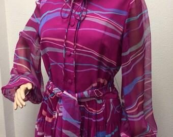 70s Print Dress Secretary Grape Pink L M Vintage 1970s