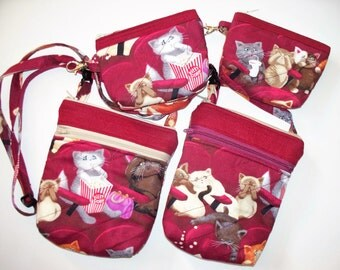 Scaredy Cats Popcorn Movie,Small Quilted Purse or Coin Purse,Quilted Inside/Out,Handcrafted,Large Waist Belt Bag,Shoulder, Cross Body,Kitty