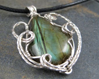 Brilliant Green Labradorite Pear Sterling Silver Wire Wrapped Pendant - Necklace - Mossy Waves and Lines
