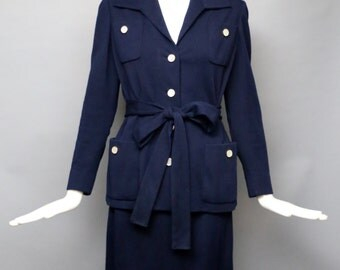 60s NORMAN NORELL navy blue knit jersey sharply tailored minimal sash jacket skirt SUIT blazer vintage 1960s
