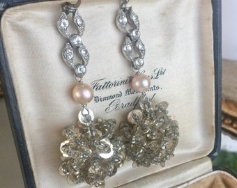 snow balls - vintage assemblage earrings art deco rhinestone pearl mid century beaded sequin cluster dangle drops, the french circus