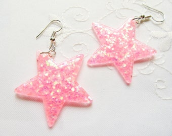 Pink Glitter Star Earrings / Big Star Earrings / Kawaii / Cute / Pink / Star / Earrings