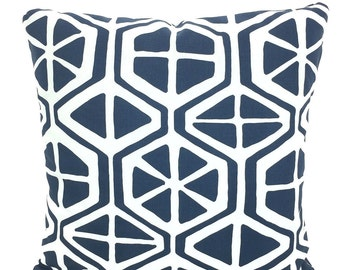 Blue White Pillow Covers Decorative Throw Pillows Cushions Premier Navy Blue White Geometric Aiden Retro Mid Century Couch Bed Various Sizes