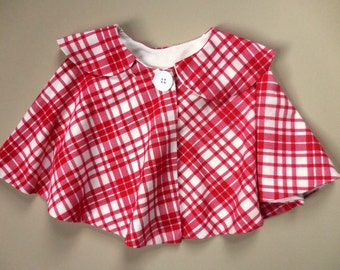BUFFALO PLAID Cape Girls Red Poncho Coat Capelet Toddler Lined Dolman Jacket Baby Youth Light Retro Old Fashioned