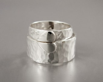 One Love Heart Wedding Band Set - 5mm and 10mm Wide Flat bands in Hammered Sterling Silver