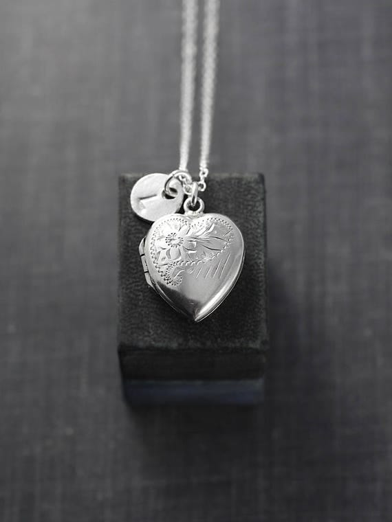 Sterling Silver Heart Locket Necklace, Flower Engraved Pendant Custom Initial Charm - Make a Wish