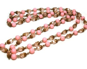 """52"""" Art Deco Rose Pink Bead Necklace with Plastic & Glass Crystals on Chain Link - Vintage 20's Period Piece Costume Jewelry"""