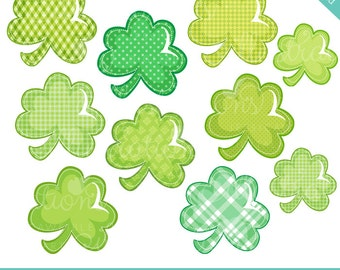 Patterned Shamrocks Cute Digital Clipart - Commercial Use OK - St. Patricks Day Clipart, Shamrock Clipart