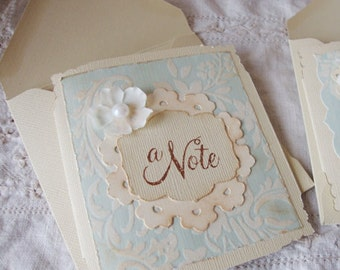 Note card shabby chic card for friend greeting cards paper supplies blank on the inside