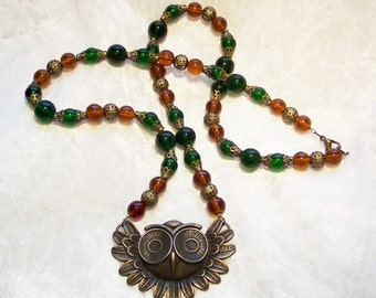 Bronze Owl Pendant, Brown and Green Glass Beads with Bronze Bead Cap Necklace