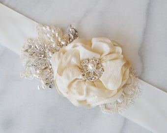 Ivory Bridal Sash, Wedding Belt, Antique White Flower Sash, Pearls and Crystals - LAURA