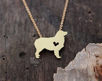 Australian Shepherd necklace, BRASS necklace, with 14K gold filled chain, hand cut pendant