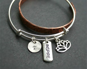 On Sale, Lotus flower bracelet with personalized initial, Yoga bracelet, Inspire bracelet, Lotus bangle, Inspire bangle, Yoga jewelry