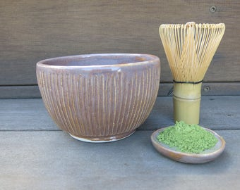 Matcha Tea Set with Teabowl, Bamboo Wisk, and Tiny Dish in Light Sepia Blush Handcarved, Handmade Artisan Pottery by Licia Lucas Pfadt