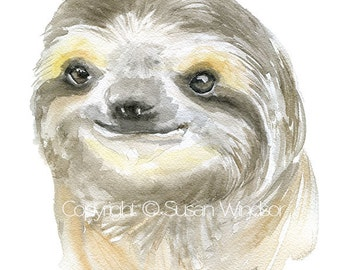 Sloth Face Watercolor Painting Giclee Print 8x10 - 8.5x11 - Fine Art Print - Ugly Cute Sloth Wall Art