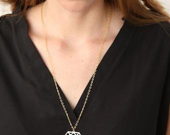 Diamond shape necklace, Diamond shape Pendant, Diamond outline necklace, Diamond pattern, Diamond cutout, Geometric necklace, Urban necklace