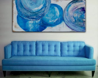 Large  48 x 24 canvas Abstract ART blue painting