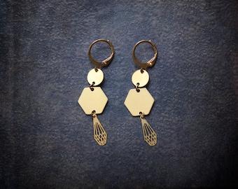 Brass Geometric Earrings Hexagon Laser Cut Boho Modern Gypest Briolette Diamond Dangle Festival Industrial Raw Brass Lightweight