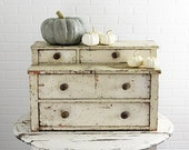 Antique Stepback Chest in Chippy Old Cream Colored Paint