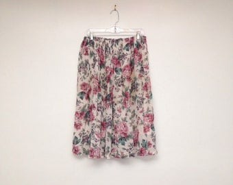 Vintage 1990s Floral High Waisted Semi Sheer Lined Romantic Skirt