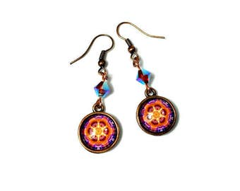 Colorful Kaleidoscope Earrings, Mandala  Earrings, Mandala Art Jewelry, Orange Violet Dangle Earrings