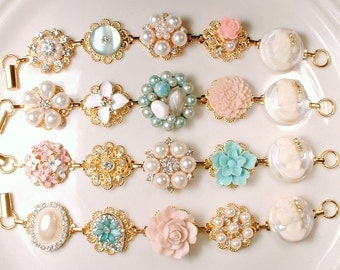 OOAK Blush Pink Mint Blue/Aqua Gold Bridesmaid Bracelet Set 4 5 6, Bridesmaid Gift Rustic Wedding Pearl Rhinestone Vintage Earring Bracelet