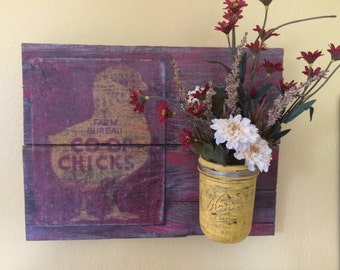 Vintage Wood Decor Chicken Farmhouse Mason Jar Red Yellow Wildflowers