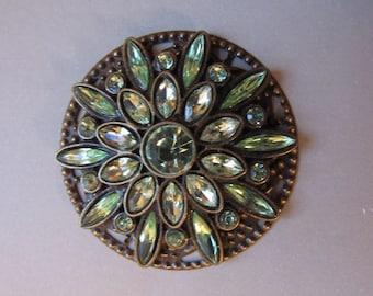 Jeweled light green mandala magnet - OOAK