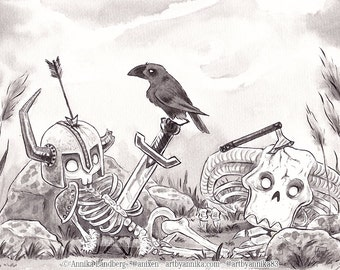 Original InkTober 2016 drawing Day 17 Battle Illustration