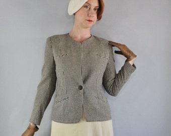 Vintage 40s 50s Women's Brown Cream Houndstooth Wool Fitted Fall Winter Old Hollywood Glamour Jacket