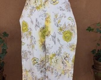 Cotton White Capri Pants with Yellow Flower Design