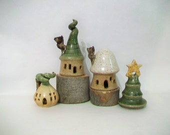 Fairy Houses - Set of 4  Small, Sweet Houses and a Tree -  Each One is Handmade, Wheel Thrown - Actual Set - Ready to Ship