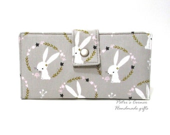 Handmade women wallet - Cameo of beautiful bunnies - Small pink flowers - ready to ship - Custom order - clutch purse - Gift ideas for her