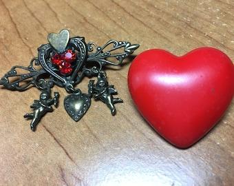 Vintage Heart Pins- Red rhinestone Heart cherubs- Hallmark Puffy Heart- EPSTEAM- Heart Jewelry- Vintage Bride Bouquet- Kirks Folly