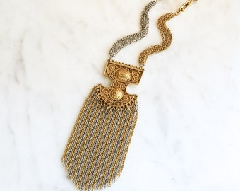 Vintage 60s 70s Massive Etruscan Pendant Necklace Waterfall Chain Vintage Jewelry