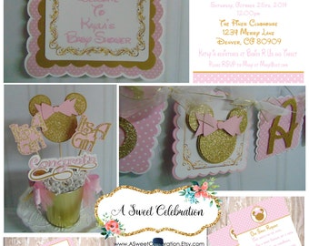 Minnie Mouse Baby Shower Party Package leopard, zebra, pink and gold glitter, pink and black polka do