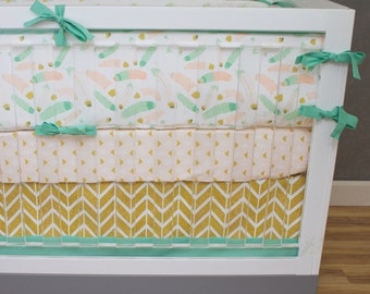 Baby Bedding, Baby Girl Crib Bedding Tribal Mint, Gold Glitter, Salmon, Pink Herringbone Chevron, Feathers, Arrows, Baby Girl Nursery Set