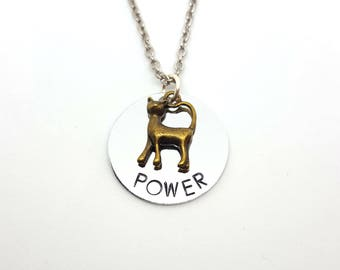 Pussy Power | Cat Necklace | Feminist Jewelry | Bronze or Gold Charm | Hand Stamped Necklace