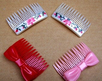 4 vintage Karina hair combs  hair accessories 1980s pink red theme hair jewelry decorative comb (ABD)