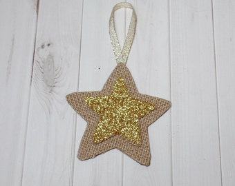 Burlap Star Ornament With Gold Glitter Star Center - Christmas - Yule