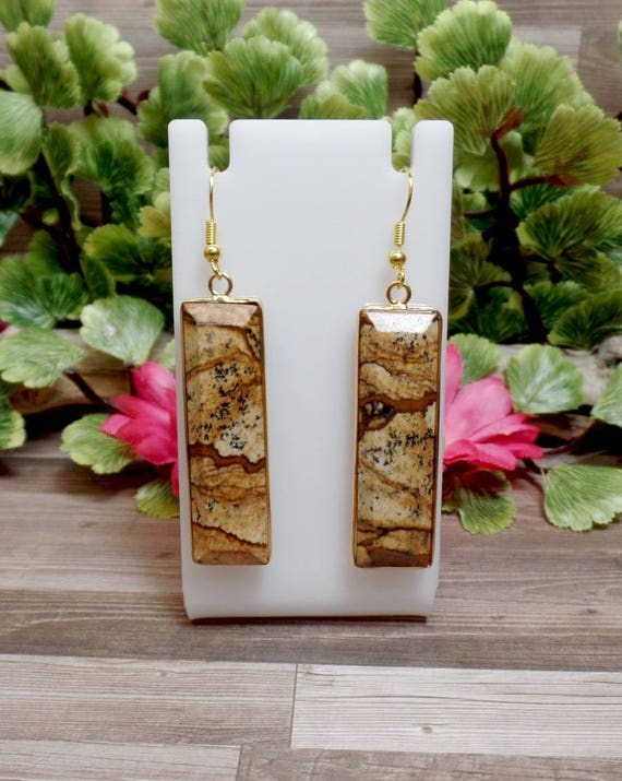 Jasper Rectangle Earrings - Gemstone Earrings - Goldtone