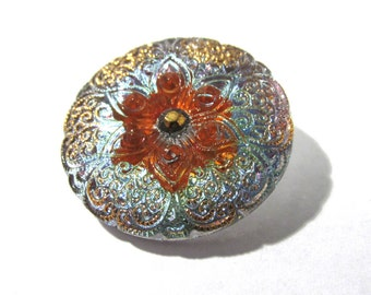 Lotus Flower Button 27mm VINTAGE Czech Glass Button One (1) Gold Orange Aqua Czech Glass Vintage Button Jewelry Supplies (F130)